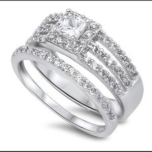 Sterling silver 925 engagement ring white gold